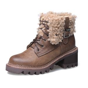 秋冬韩版新款高跟系带女靴后拉链yabo20子粗跟马丁靴毛毛雪地靴
