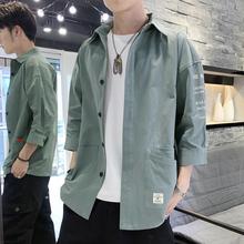宽松休闲外套 牛仔很仙 帅气七分短袖 衬衣夏季 男韩版 衬衫 潮流工装
