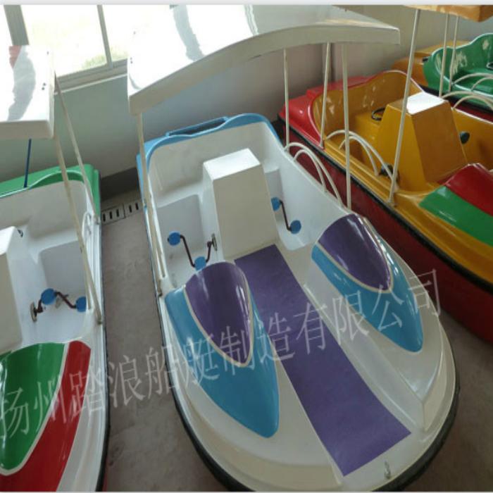 特价四人脚踏船玻璃钢船休闲观光游船水上自行车脚踏船公园游船