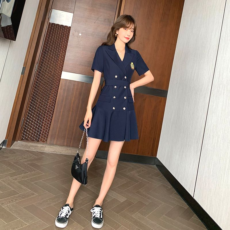 Black double breasted V-neck suit skirt waist closing imperial sister style summer dress 2021 new fashion womens French dress