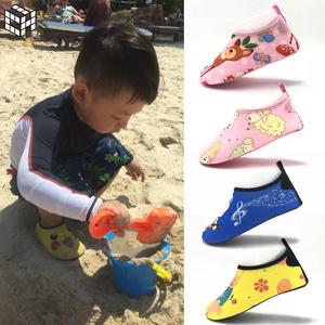 夏季沙滩鞋儿童防滑透气凉拖鞋女宝宝游泳浮潜水软鞋贴肤赤足袜子