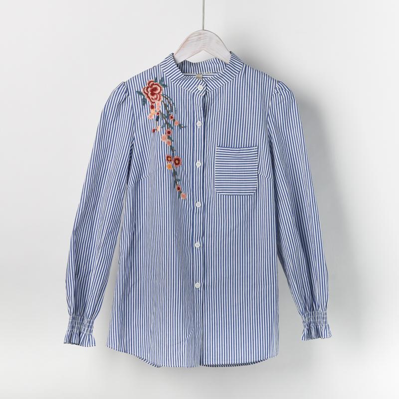 【秋装新品】莎◆品牌折扣店商场正品撤柜剪标女装条纹刺绣衬衫