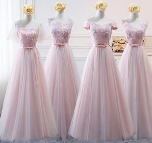 伴娘服长款2019新款粉色伴娘团姐妹裙女韩版年会显瘦连衣裙晚礼服