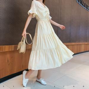 不规则高腰谈黄色长裙轻熟风收腰系带显高过膝气质泡泡袖连衣裙潮