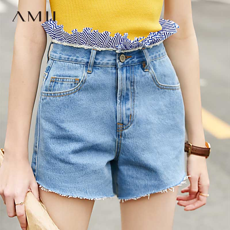 Amii极简ulzzang网红潮牛仔短裤夏季新全棉拼条纹布毛边裤子
