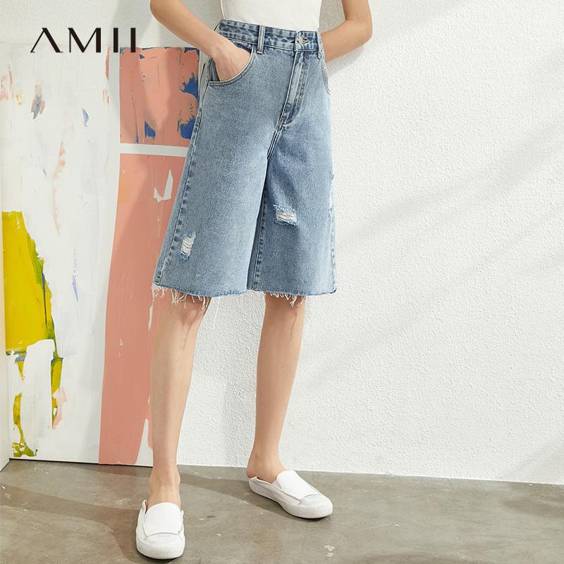 20夏新款 时尚水洗作旧破洞五分高腰牛仔短裤 女