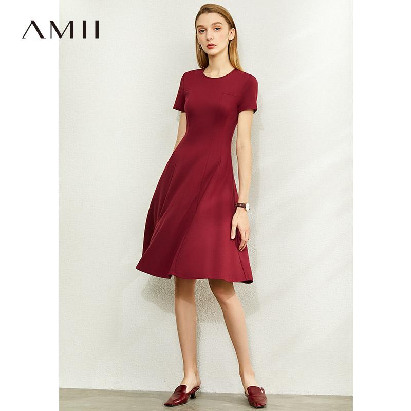Amii法式红色连衣裙女2021新款夏季赫本风小黑裙气质显瘦A字裙子