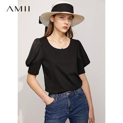 Amii薄荷凉感泡泡袖小冰T恤女2021夏新款仿醋酸丝光纯棉短袖上衣
