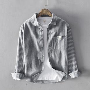 全棉时尚 上衣青年外套 日系新款 条纹休闲衬衫 男士 百搭衬衣纯色男式