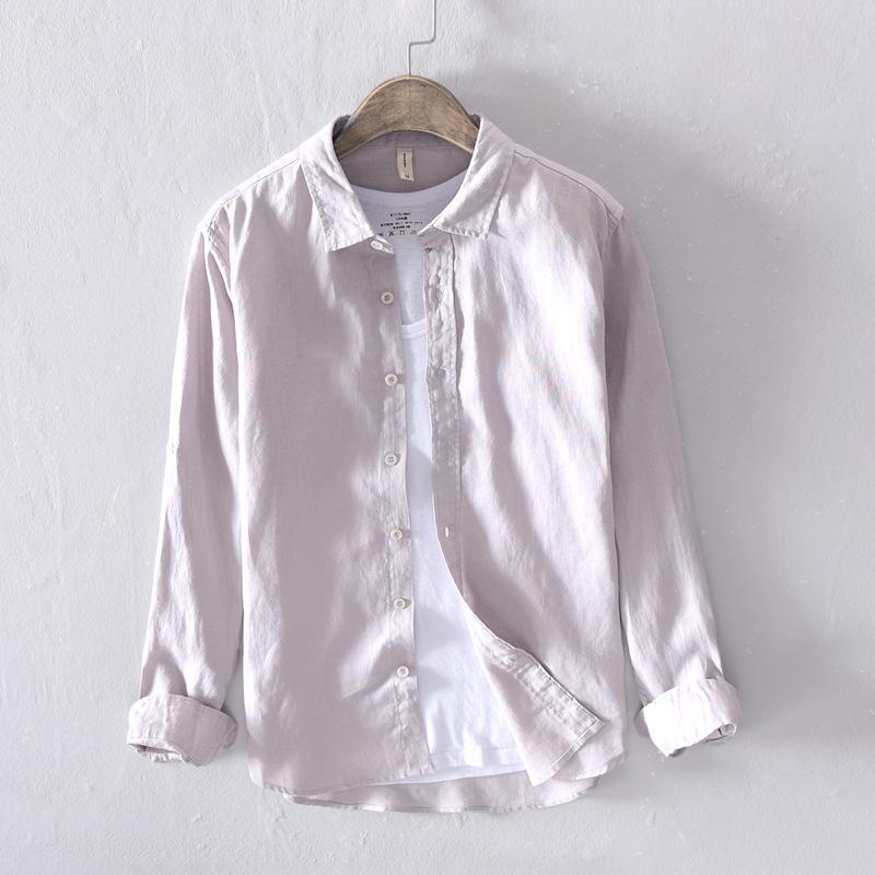春季薄款文艺纯亚麻男式长袖衬衫纯白色舒适透气棉麻百搭衬衣潮男