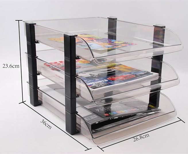 三層文件盤塑料文件座文件筐文件架資料架文件欄固定整理書架903B
