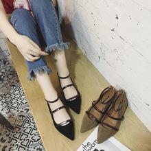 2017 秋韩版新款尖头平底单鞋浅口平跟一字扣带绒面镂空女鞋代999