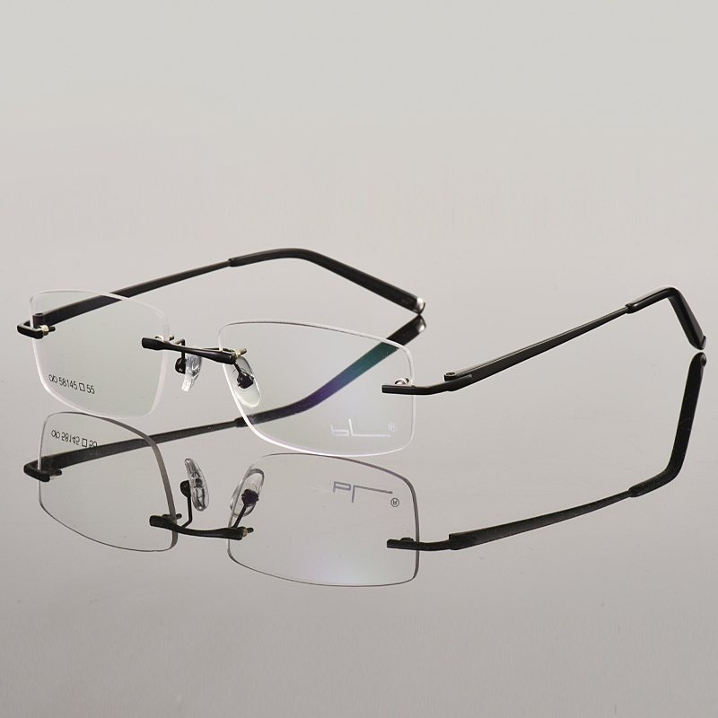 Frameless glasses for men and women business discoloration, equipped with degree anti blue myopia glasses frame Danyang beam Jinyu glasses frame