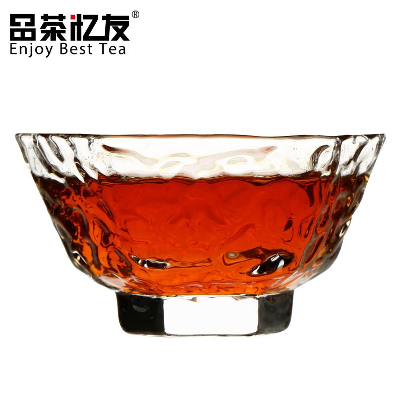 日式 杯錘目紋玻璃品杯 茶杯玻璃茶具錘紋杯一口杯品茗杯