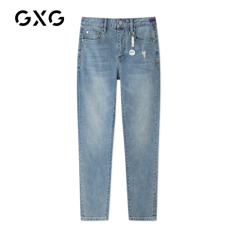 GXG men's 2021 spring and autumn hot shopping mall with blue water washing, slim, small foot, tide, tide