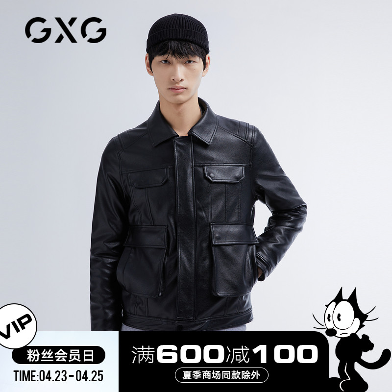 GXG men's gentleman series 21 spring hot sale black leather jacket lapel multi-pocket pu jacket