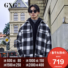 GXG Men's Wear Winter 2018 New Korean Edition Trendy Lattice Cotton-padded Clothing Warm Short Jacket Men's Trend