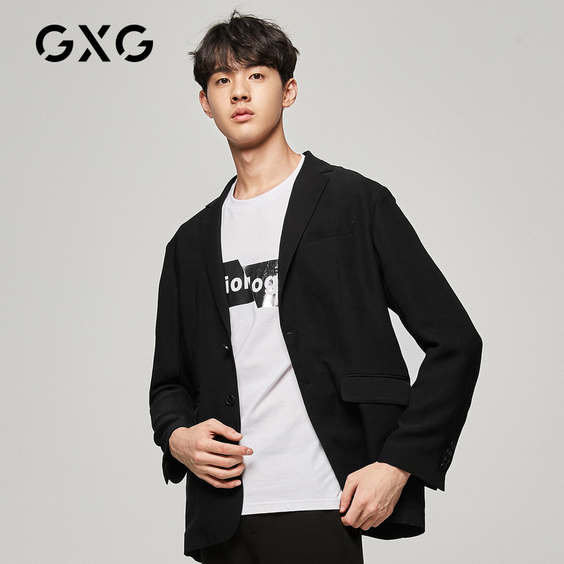GXG Men's Sven Series 21 Summer Hot Sale Fashion Trend Slim Black Suit Jacket Shanxi