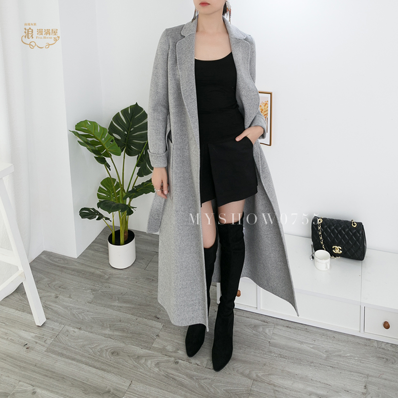 Autumn / winter 2020 womens clothing brand store the same type of wool and cashmere blended high-end double-sided cardigan overcoat