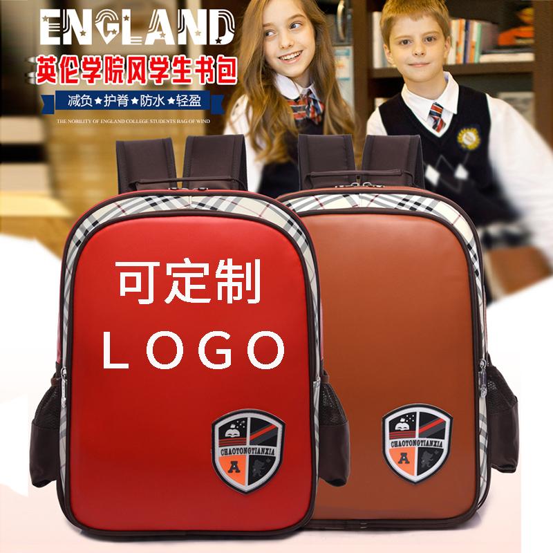 新款英伦风儿童书包小学生PU皮幼儿园双肩背包男女可印字定制logo