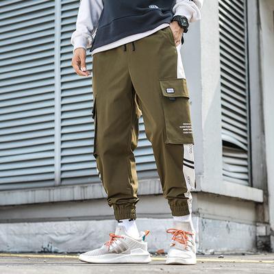2019秋外景日系大码撞色工装裤休闲裤 绿色 A1005-P35(控价59)