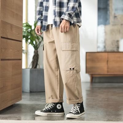 2019秋内景日系ins直筒宽松裤工装裤 卡其 A1010-P50(控价80)