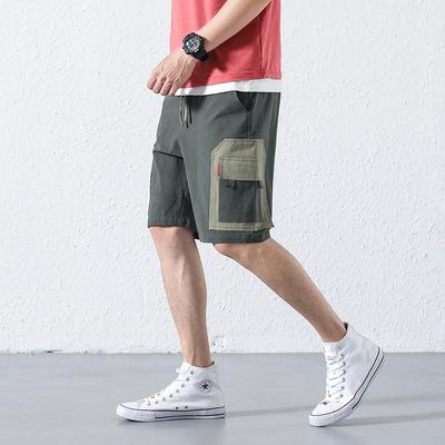 内景2018夏季新款原创个性棉麻短裤大口袋休闲裤 绿色 A503-P45