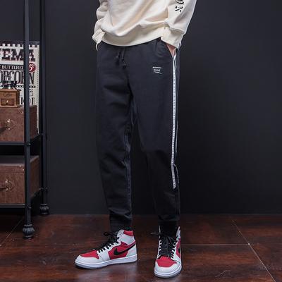 2018春季新款黑底日系松紧腰头撞色拼条休闲裤男黑色 A141-P45