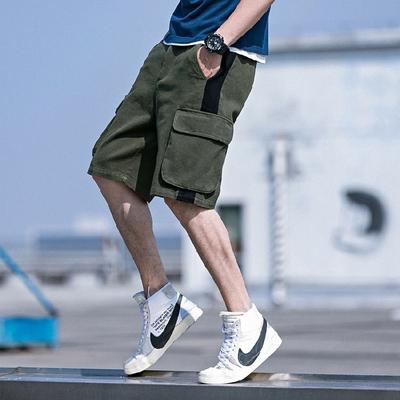 2018夏新款日系五分裤工装裤大口袋时尚个性休闲裤绿色A508-P50