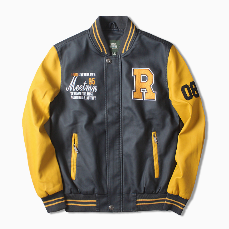 Spring and autumn American Locomotive mens washed PU leather jacket with velvet embroidery retro trend casual Baseball Jacket