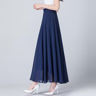百褶半身裙夏季新款百搭高腰纯色雪纺中长裙飘逸大摆沙滩度假长裙