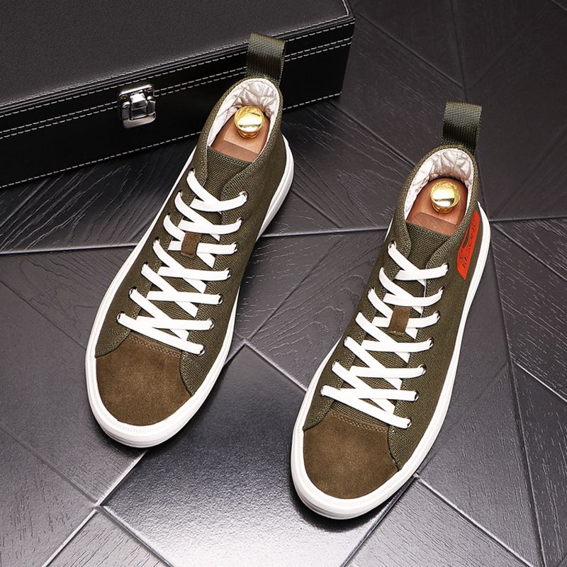 2020 new mens shoes summer air permeability, inner increase thick soled canvas shoes, mens students fashionable leisure high top board shoes
