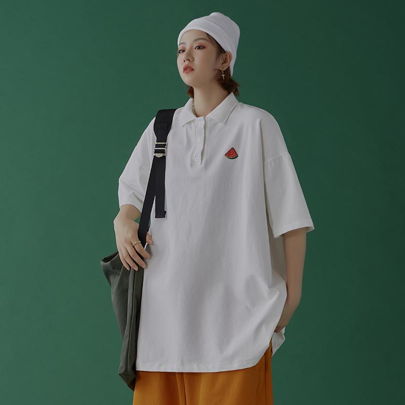 中性风 夏季潮流港风宽松刺绣短袖polo衫男女生翻领T恤 T902-P35