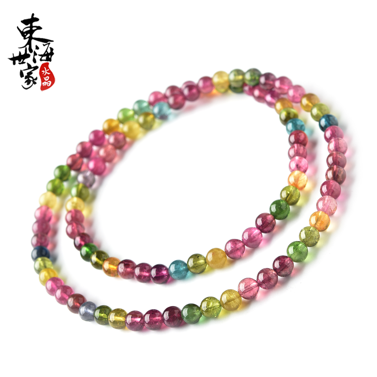 East China Sea Family Tourmaline Bracelet Female Candy Rainbow Brazilian Old Pit Single Ring Multi Ring Tourmaline Hand String Hanging Ring