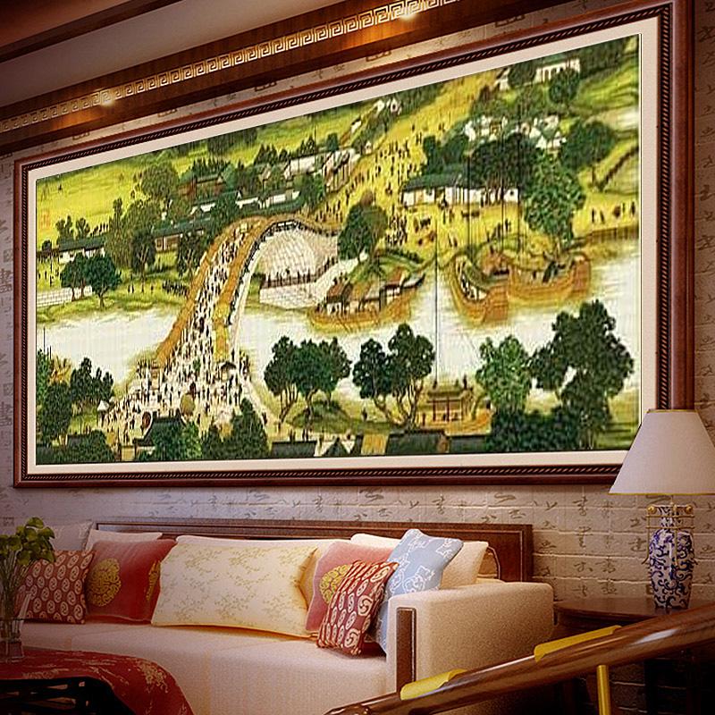 印花十字绣清明上河图全景线绣新款客厅简约现代山水画2米3m大幅