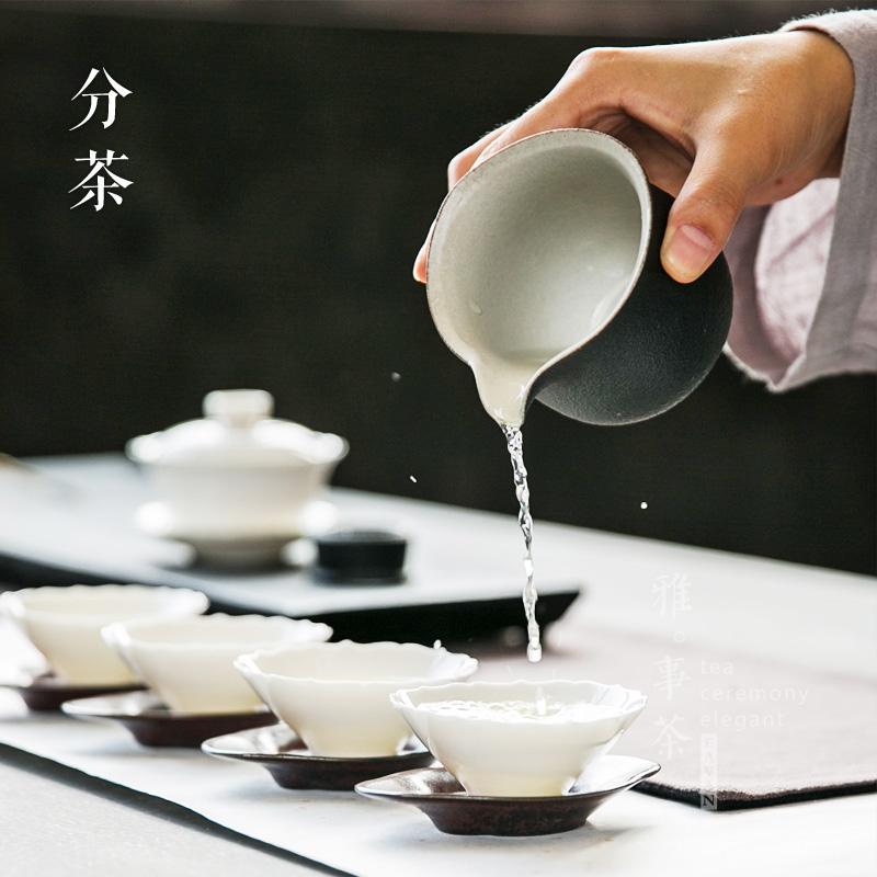 粗陶圓形公道杯陶瓷大號公杯功夫茶道分茶器加厚隔熱茶漏茶道套裝
