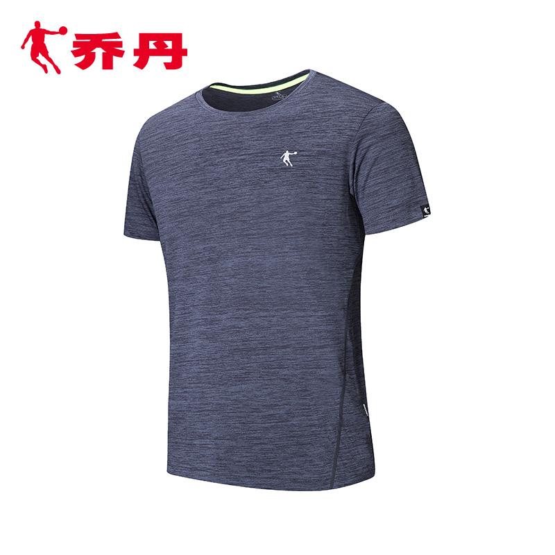乔丹男装运动服短袖男夏季新款休闲针织圆领t恤健身上衣跑步衫男
