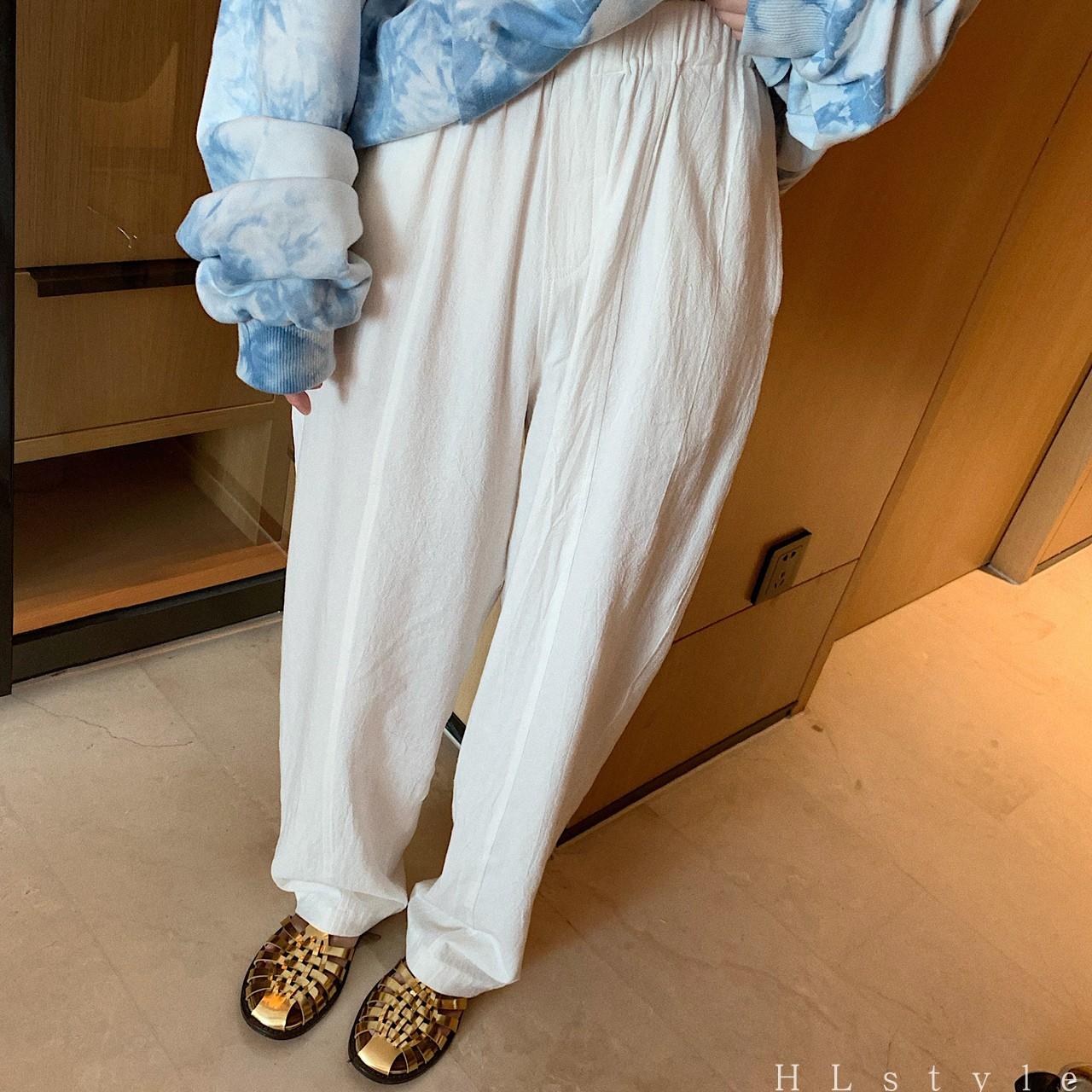 高腰休闲裤女夏季新款宽松显瘦直筒阔腿裤百搭长裤
