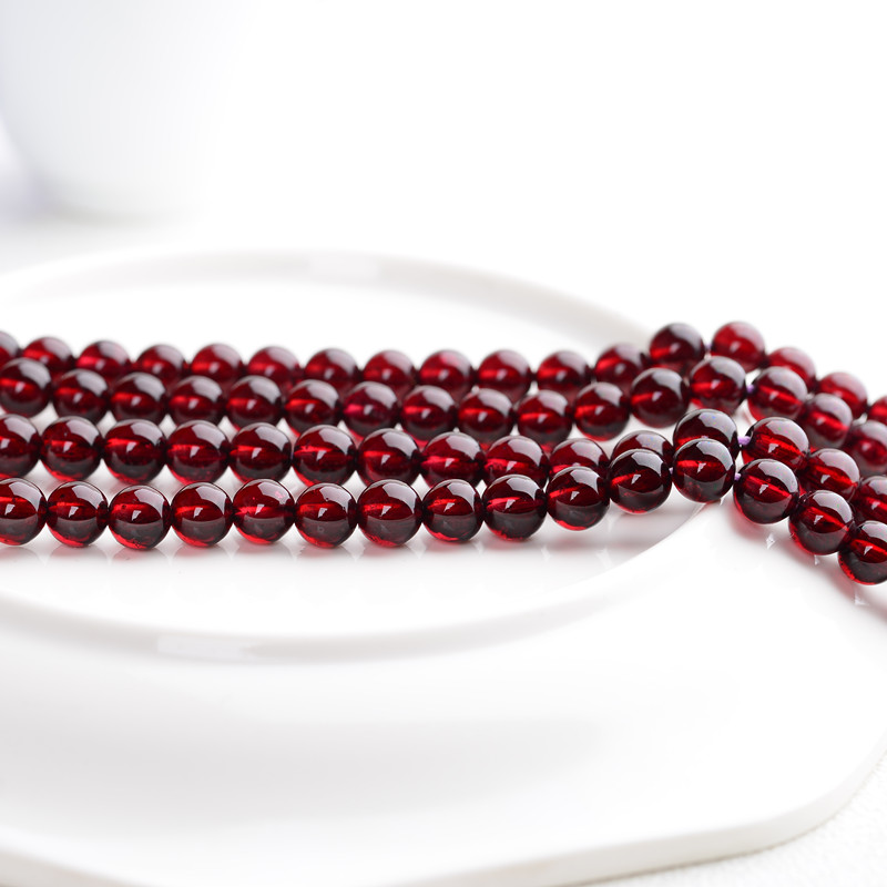 High permeability natural garnet semi-finished long chain Loose Pearl wine red three Circle Bracelet DIY crystal jewelry