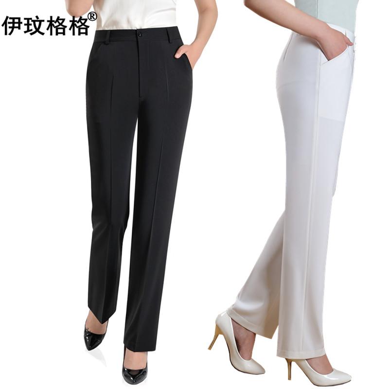 夏季白色中老年女裤直筒黑裤子女西裤高腰妈妈裤中年西装裤女职业