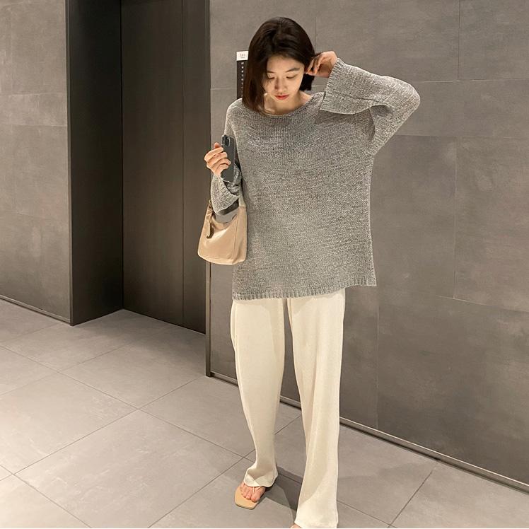 韩国女装代购 宽松直筒针织衫薄款毛衣长袖打底衫G7829