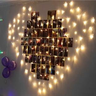 LED彩灯闪灯串灯爱心窗帘灯心形告白求婚灯少女心浪漫圣诞装饰灯