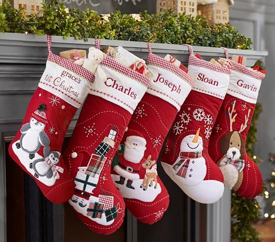 圣诞袜圣诞纯棉贴布绣手行礼物袋
