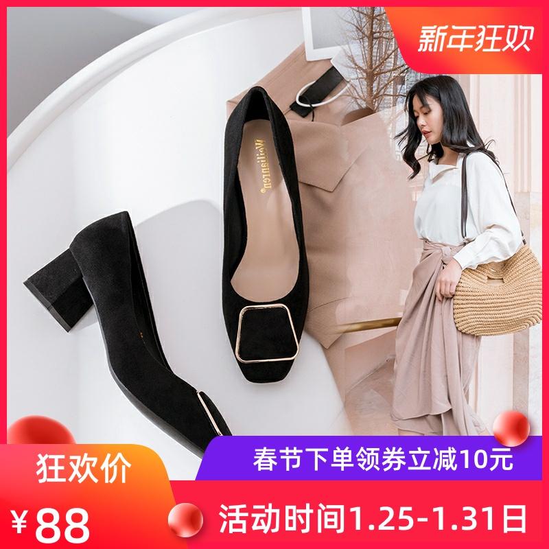 脚面高宽女鞋大码粗跟40-43胖脚宽肥潮款2019春款中跟单鞋女41-43
