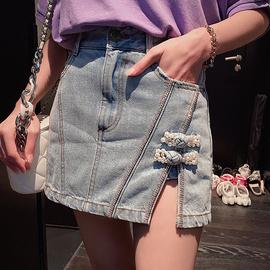 巴掌家欧洲站开叉盘扣牛仔半身裙裤女高腰夏季a字短裙潮2020新款