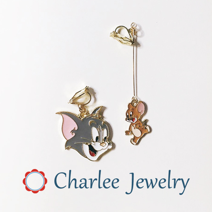Charlee jewelry cat and mouse Tom Jerry ear stud cartoon cute student year of the rat ear clip earrings