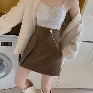 YF18025# 高腰显瘦不规则链条半身裙A字裙包臀裙短裙 服装批发女装直播货源