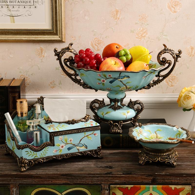 欧式果盘套装奢华创意家居客厅茶几装饰品摆件大号水果盘三件套