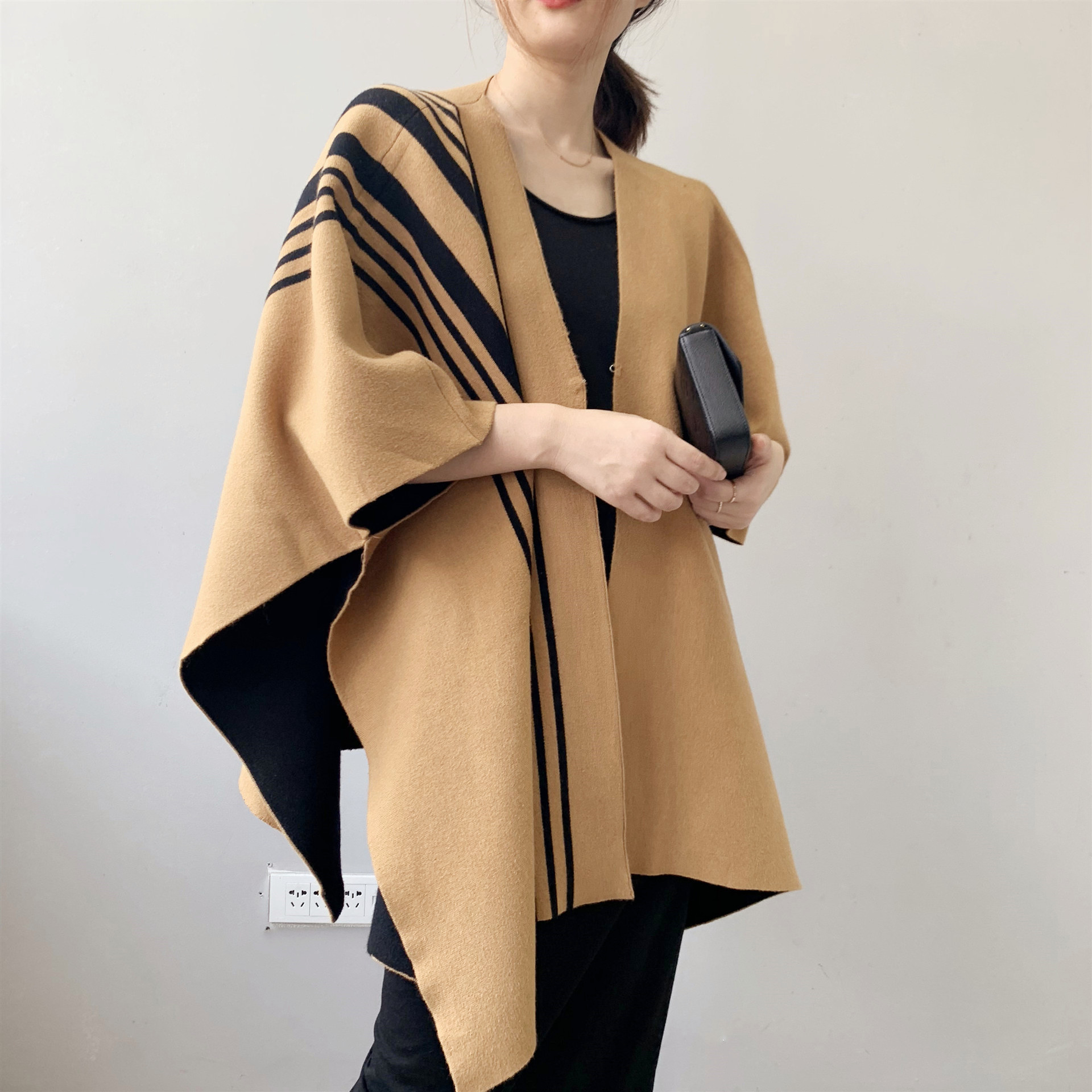 Spring and autumn winter large womens cape coat shawl Knitted Vest Medium Length sweater cardigan loose Korean version