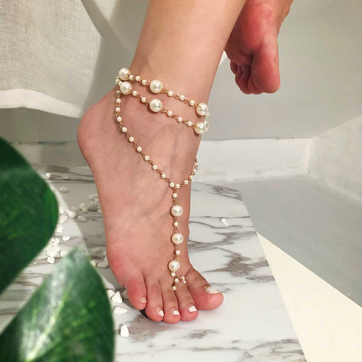 珍珠脚链波